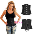 Plus Size Sexy Basques Black Underbust Corset Embroidered Lace Up Waist Cincher Shaperwear Nightwear Train Shaper Bustier S-6XL