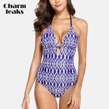 цена на Charmleaks Womens V Neck One Piece Swimwear Floral Print Bathing Suit Deep Plunge Padded Sexy Swimsuit Monokini