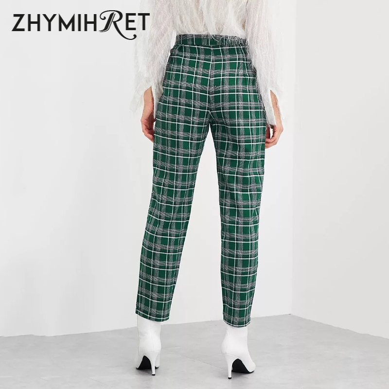 Image 5 - ZHYMIHRET Casual Plaid High Waist Yellow Straigh Pants Women Summer Pantalon Femme Loose Side Zipper Trousers Spodnie Damskie-in Pants & Capris from Women's Clothing