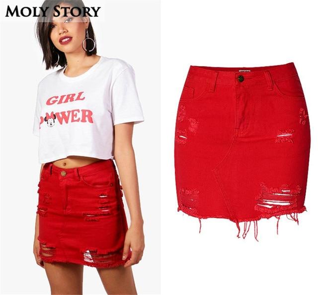 8f3ad6c0193 Ripped Jean Red Skirt Women Asymmetrical Frayed High Waist Denim Skirt  Destroyed Plus Size Jupe Femme