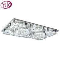 Free Shipping Wholesale Or Retail Rectangle Design 10 Lights Led Crystal Abajur Lustre Ceiling Light For