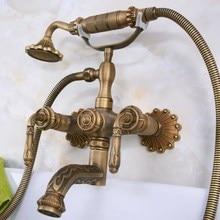 Vintage bronce antiguo tallado pared artística de baño grifo para montado en la tina con forma de garra grifo mezclador teléfono cabeza de ducha doble palancas ana222