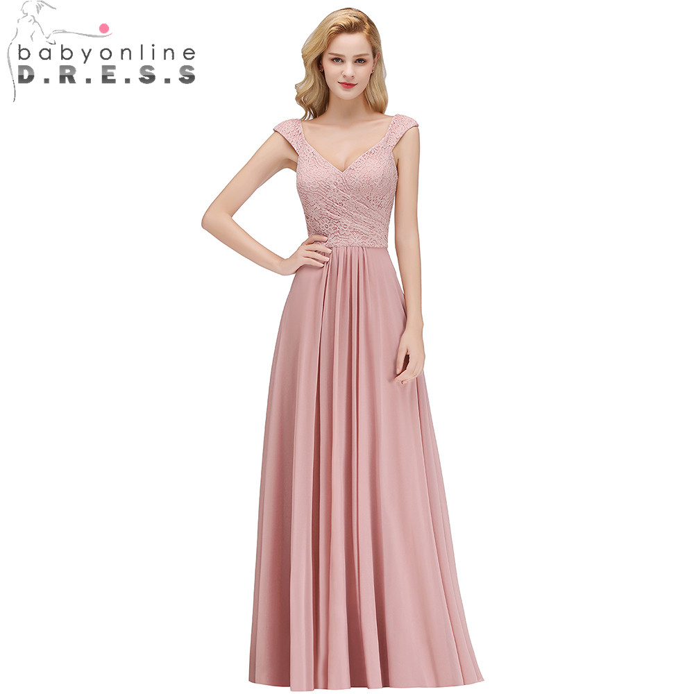 2019 Elegant Dusty Pink Lace   Bridesmaids     Dresses   V-Neck Cap Sleeve Pleat Chiffon Wedding Party   Dresses   Long Prom Gown   Dresses