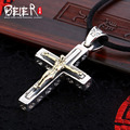 Retro biker cross man pendant  Beier 925 silver sterling  pendant necklace free give black rope fashion jewelry  A1257