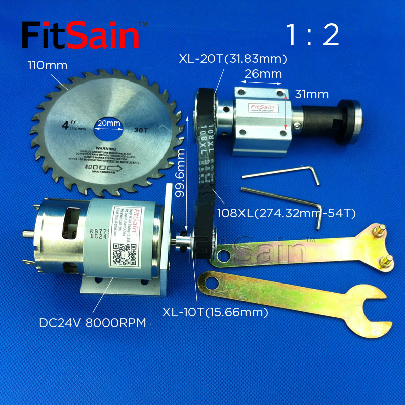 FitSain-DC24V 8000RPM Mini table saw for 4 saw blade 110mm hole 16mm/20mm XL 10 20 teeth spindle aluminum alloy Pulley 1 : 2 12 72 teeth 300mm carbide tipped saw blade with silencer holes for cutting melamine faced chipboard free shipping g teeth