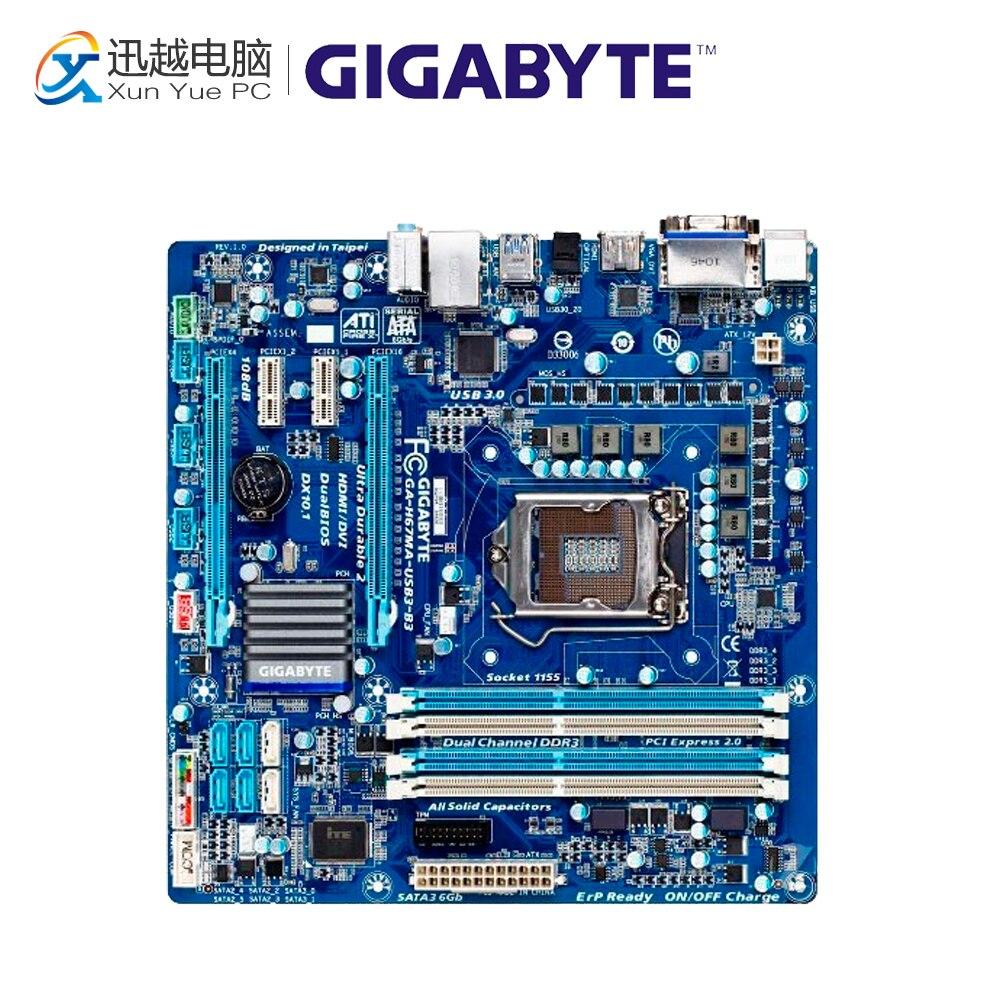 Gigabyte GA-H67MA-USB3-B3 Desktop Motherboard H67MA-USB3-B3 H67 LGA 1155 i3 i5 i7 DDR3 32G used motherboard mainboard for msi h67ma e35 lga 1155 ddr3 16gb usb2 0 usb3 0 vga dvi hdmi micro atx board