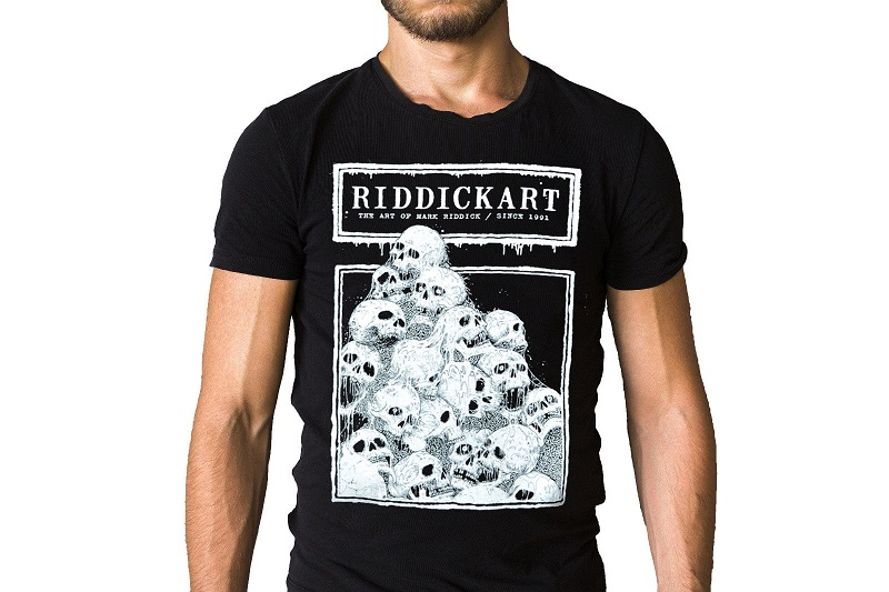 Shirt Shop Short Sleeve Mark Riddick Art Pile Of Skulls Black Short Sleeve Crew Neck T Shirts For Men