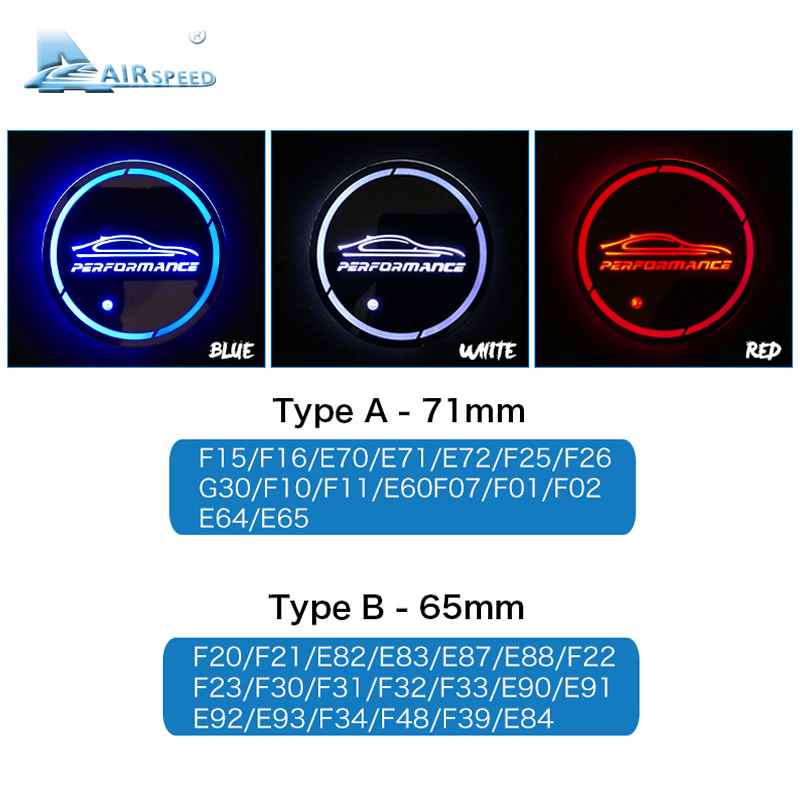 lowest price Airspeed 2pcs LED PERFORMANCE Car Coasters Cup Mats for BMW G30 F30 F34 F20 F10 F15 F16 F25 F26 F07 F48 E70 E90 E92 E60 E84 E87