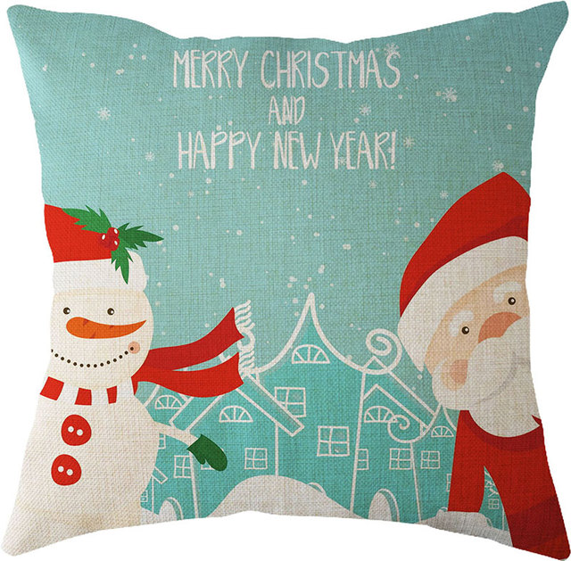 happy new year merry christmas decorations for home navidad natal linen digital print elk christmas cushion - Christmas Digital Decorations