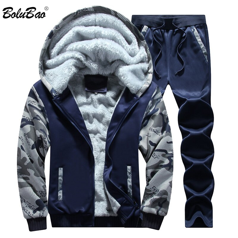 BOLUBAO Men Thick Hoodie Set Casual Warm Winter Mens Tracksuit Outwear Men's Hoody Coat Sweat Suits Jacket+Sweatpants Sets