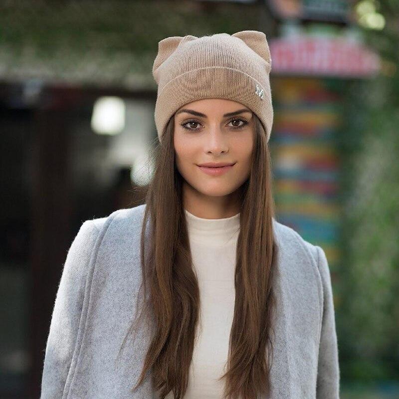 68c80d683ff Winter Hats Knitted Hat Hot Ears Cat Girl High Fashion Women Wool ...