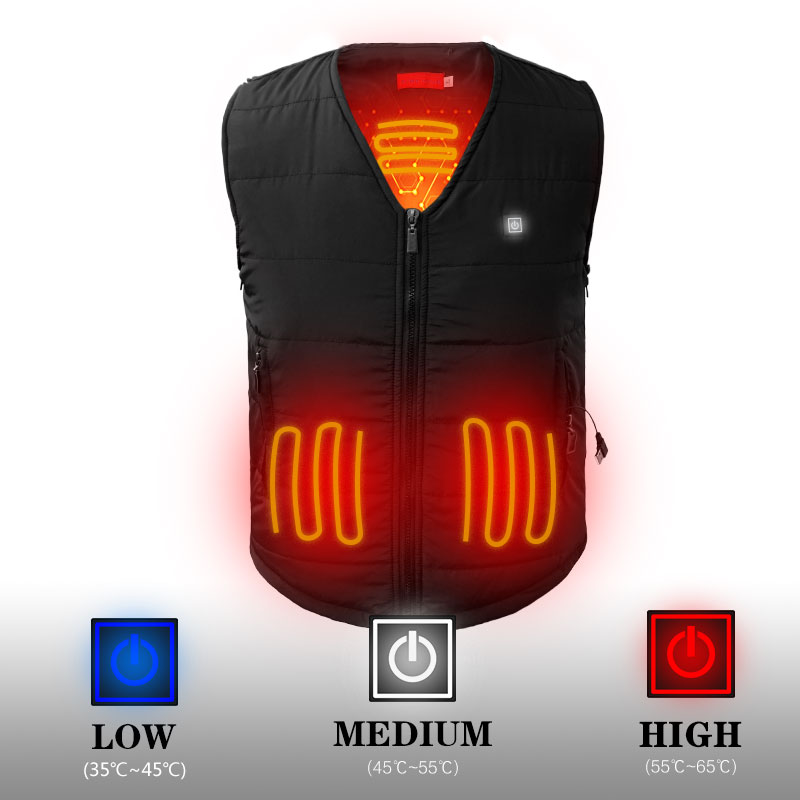 NEW camping heated vest battery woman men vest winter warm thick vest 3 level Power supply charging size s-xxxl black