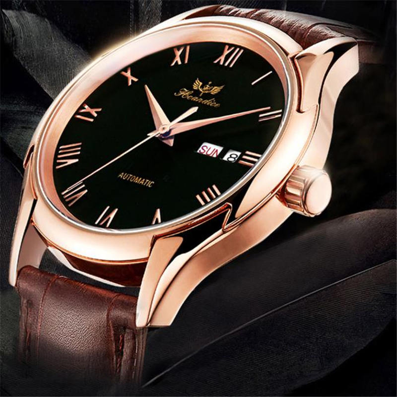 1PC Men's Fashion Leather Band Mechanical Watch Wrist Watch relogio feminino saat 2018 New
