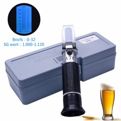 RSG-32ATC hand held SG 1.000-1 .120 Beer Refractometer 0-32% Brix Reference Temperature 20C Dual Scale with Plastic Retail Box
