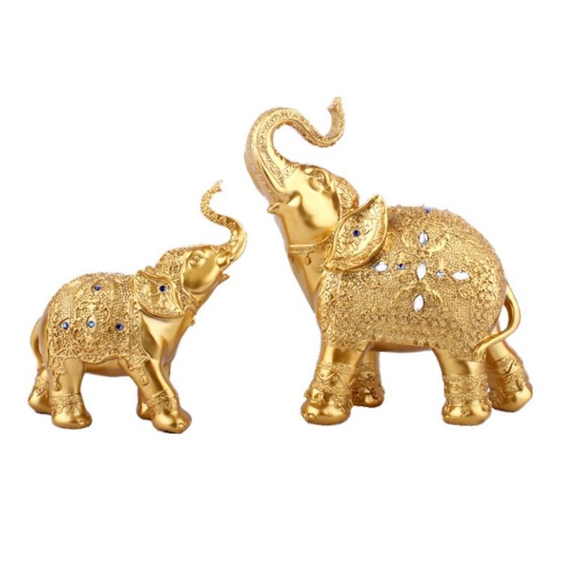 2 pcs/set créatif éléphant famille Figurine résine artisanat décoration de la maison accessoires moderne table résine éléphant ornements