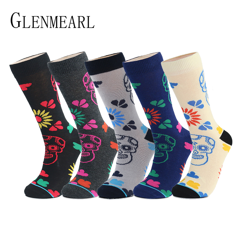 Image 1 - 5 Pair/Lot Cotton Men Socks Quality Spring Fall Brand Business Compression Coolmax Pattern Dress Happy Male Crew Socks Plus Size-in Men's Socks from Underwear & Sleepwears