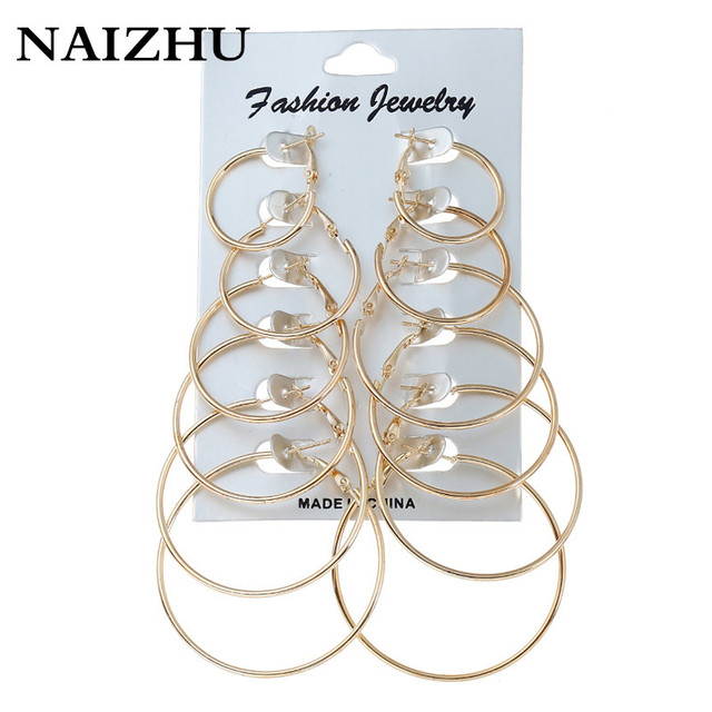 Naizhu New Fashion Jewelry 6 Pair Set Gold Sliver Plated Hoop Earrings Women