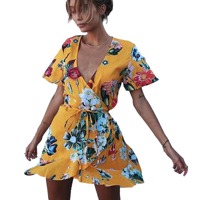 e4479e5920d NEW Floral Printed Yellow Playsuits Deep V-Neck Short Sleeve Irregular Summer  Jumpsuits Shorts Women Belted Sexy Overalls Femme