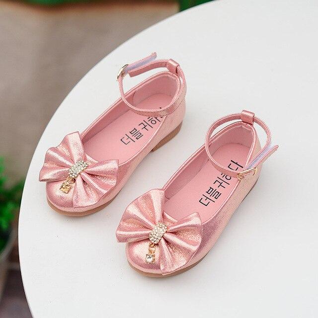 Девушки кожаные ботинки детей бантом золото серебро розовые туфли дети принцесса студенты школа обувь размер 21-36