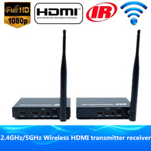 Tremendous High quality 200ft Wi-fi HDMI Video Transmitter Receiver 1080P Wi-fi HDMI Splitter Extender WIFI Sender With Loop Out IR