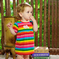 baby summer one-piece rainbow dress 0 - 1 - 2 years old princess short-sleeve Pattern dresses free shipping
