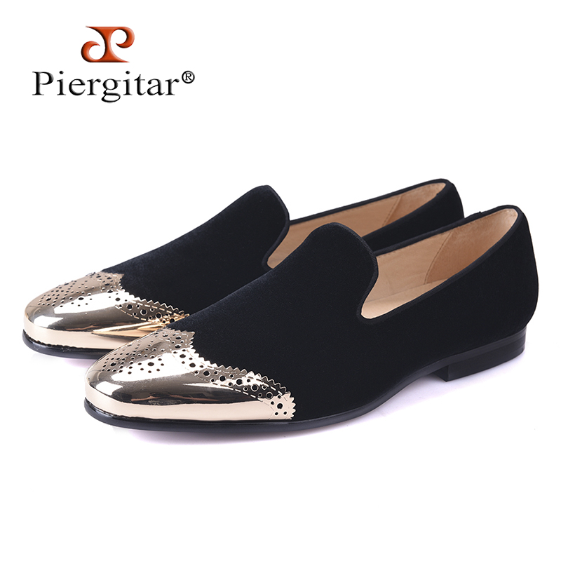 Piergitar 2017 new Black velvet shoes with gold Bullock buckle Fashion party and wedding men loafers Plus size men casual shoes stylish men s casual shoes with buckle and breathable design