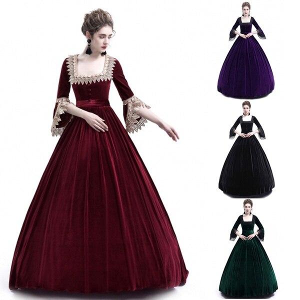 Medieval Square Collar Maxi Dress Women Vintage Velvet Theatrical Victorian Dress Slim Button Lace Renaissance Gown S-2XL