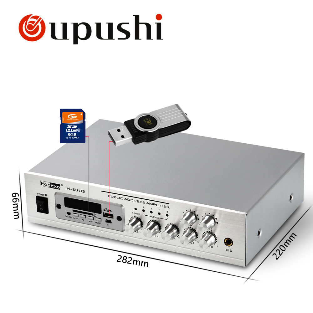 Oupushi Bluetooth Home Background Music System MP3 Player 50W USB Amplifier With 6 Inch / 8 Inch Ceiling Speakers 2