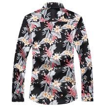 Long sleeve Blouse Men Flower Hawaiian Shirt Mens Dress Shirts Floral Casual Plus Size Black Blue
