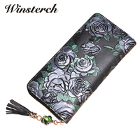 Luxury Designer Genuine Leather Women Wallets Long Fashion Floral Vintage Female Clutch Purse High Quality Handbag
