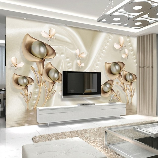 Custom 3d mural 3d water lily butterfly silk water wave tv backdrop bedroom study office decoration
