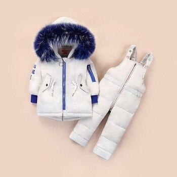 Kids Winter Clothes 2pcs Toddler Boys Girls Clothing Sets Warm Down Jacket Outwear+Jumpsuits Children Snowsuit Skiing Suits Z594