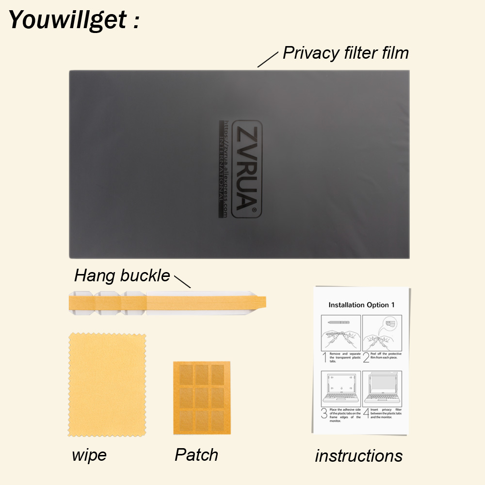 14 inch (310mm*174mm) Privacy Filter For 16:9 Laptop Notebook Anti-glare Screen protector Protective film 5