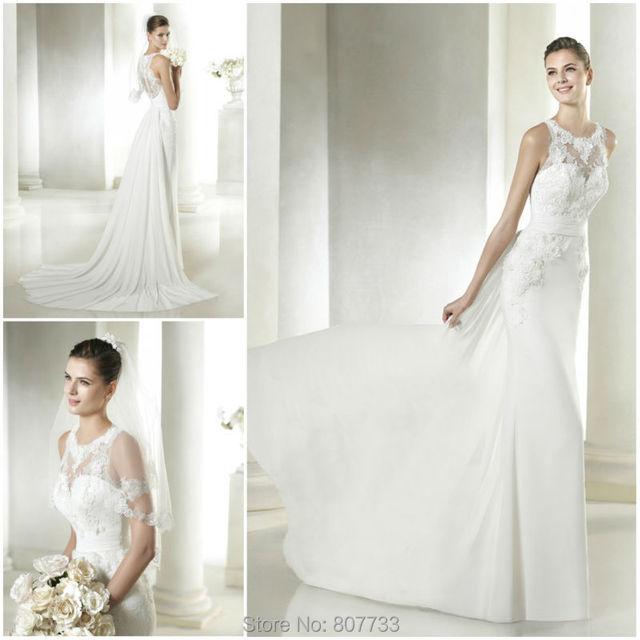 W030 Wonderful With Chiffon Tail Lace Applique Ladies Fishtail Wedding Dress 2015