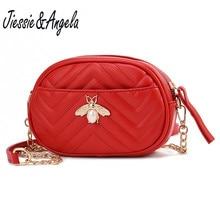 Jiessie&Angela Leather Fanny Pack For Women Waist Bag Belt Black Bee Packs Chain
