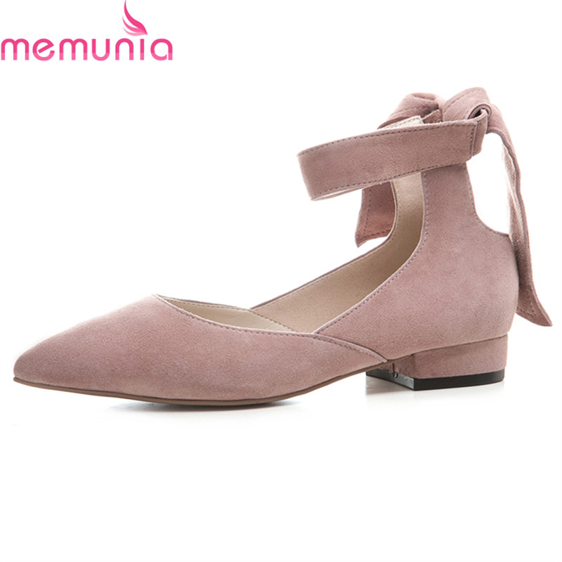 MEMUNIA 2018 popular high quality genuine leather women shoes low heel pointed toe ankle strap black leisure ladies shoes women flat sandals fashion ladies pointed toe flats shoes womens high quality ankle strap shoes leisure shoes size 34 43 pa00290