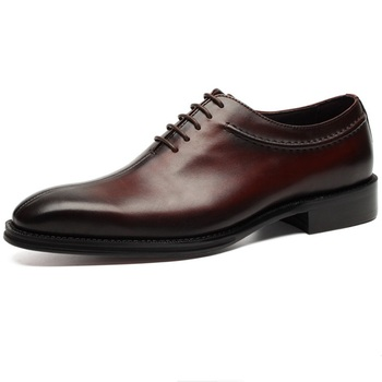 Handmade Black / Brown Tan Boys Groom Shoes Oxfords Mens Wedding Shoes Genuine Leather Dress Shoes Italian Mens Business Shoes Formal Shoes