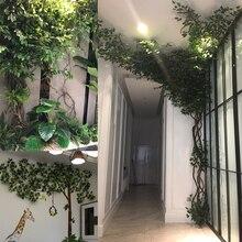 plants artificial green leaves plastic banyan tree branch silk bar background home office wedding decor fake plant