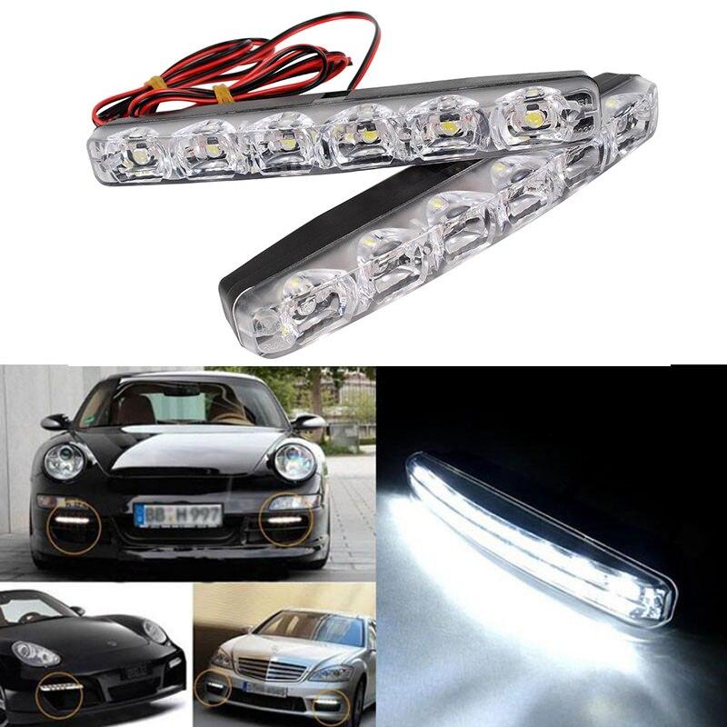2Pcs 6 LEDs Universal Car Daytime Running Lights Car Styling DRL Waterproof Daytime Lamp Auto Fog Light Super Bright DC 12V