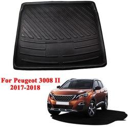 Dla Peugeot 3008 2017 2018 polietylenu wnętrza samochodu Cargo wykładzina bagażnika tył mata do bagażnika podłogowe Cargo tacy akcesoria Car Styling na