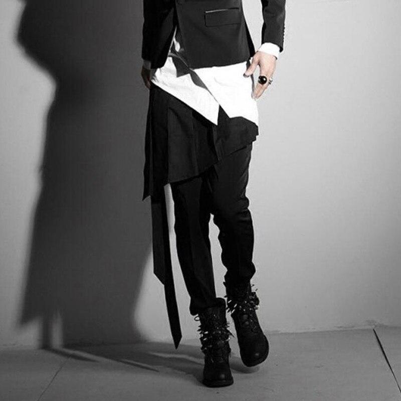 Fijn Mannen Onregelmatige Ontwerp Punk Hip Hop Rok Broek Zwarte Geplooide Schort Mannen Harajuku Nachtclub Dj Singer Stadium Kleding Gothic Kostuum Verschillende Stijlen