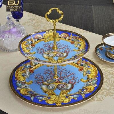 Assiette européenne porcelaine à deux étages | Assiettes de gâteau Style Conch assiette de collation aux fruits, plateau en céramique pour le thé de l'après-midi décoration de la vaisselle