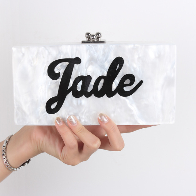 Personalized Customized Acrylic Patchwork Evening Clutch Bag Your Own Name  Lady Party Wedding Purse Fashion Acrylic c8a4af7874d7