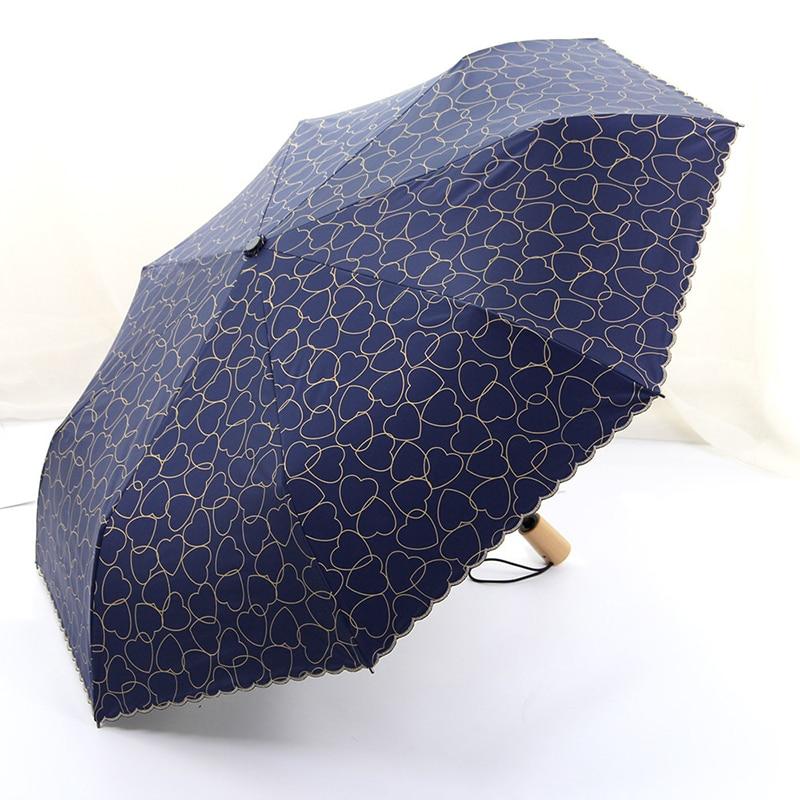 Heart Automatic Umbrella For Ladies Parasol Wind Resistant Rain Women Heart Print Anti UV Three Folding Lace Umbrellas