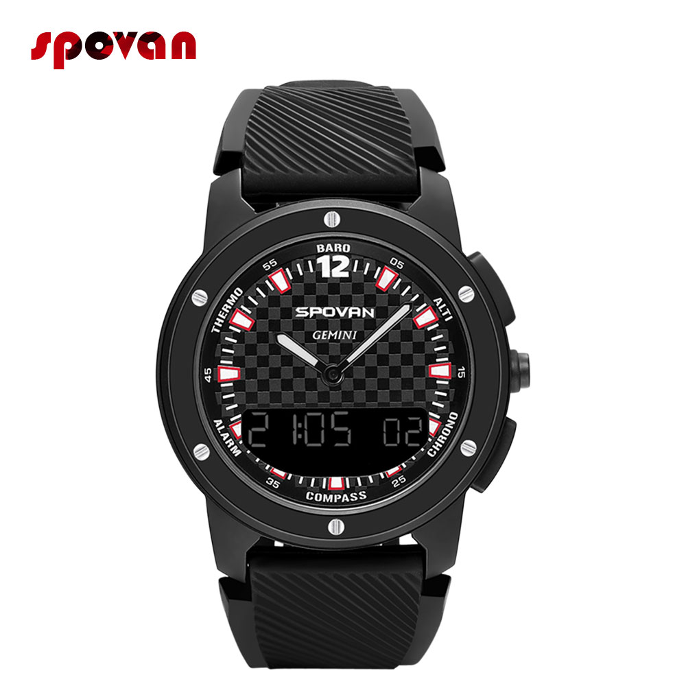 GEMINI-1 Smart Watch Double Display Outdoor Sports Watch With Altimeter Barometer Compass Waterproof Weather Forecast LED Backli