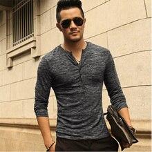 New font b Men b font Henley Shirt 2016 new Tee Tops Long Sleeve Stylish Slim