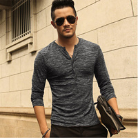 New Men Henley Shirt 2016 New Tee Tops Long Sleeve Stylish Slim Fit T Shirt Button