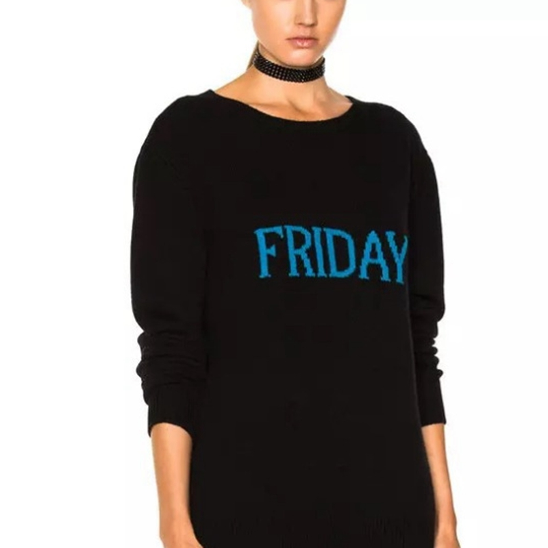 Knitted Week Christmas Sweater Woman Sweater Pullovers Long Sleeve Friday Sunday Monday Wednesday Black Jumper Tops Jersey