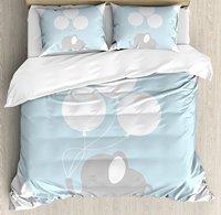 Elephant Nursery Decor Duvet Cover Set, Little Baby Elephant with Big Balloons Happy Funny Icon, 4 Piece Bedding Set