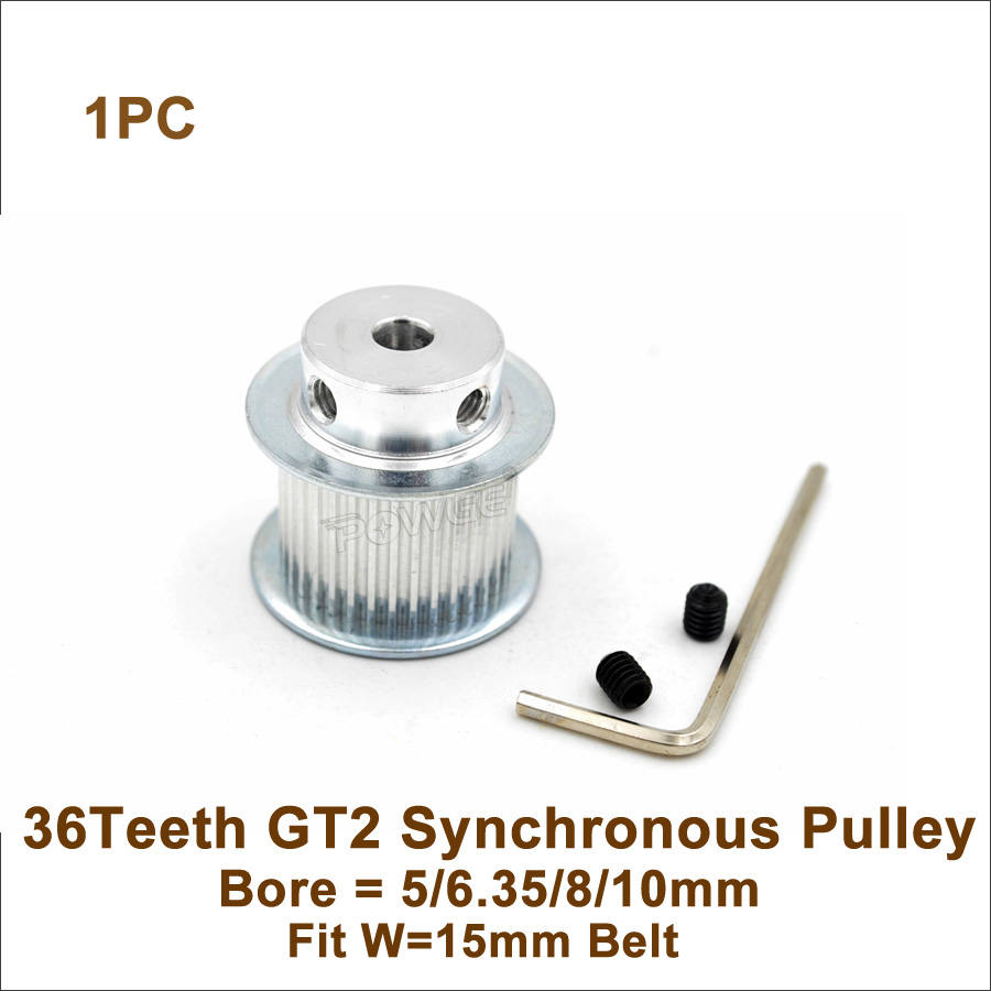 POWGE 36 Teeth 2GT Timing Pulley Bore 5/6.35/8/10mm Fit Width 15mm <font><b>GT2</b></font> Synchronous Belt <font><b>36T</b></font> 36Teeth <font><b>GT2</b></font> Pulley image
